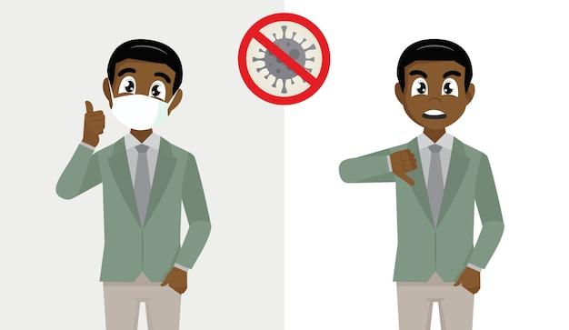 Uomo d'affari africano che copre il viso con maschera medica e mostra i pollici in su e l'uomo d'affari africano non deve affrontare i pollici in giù