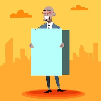 Uomo d'affari africano con un poster pubblicitario