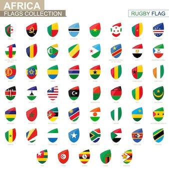 Collezione di bandiere dei paesi africani. insieme della bandiera di rugby. illustrazione di vettore.