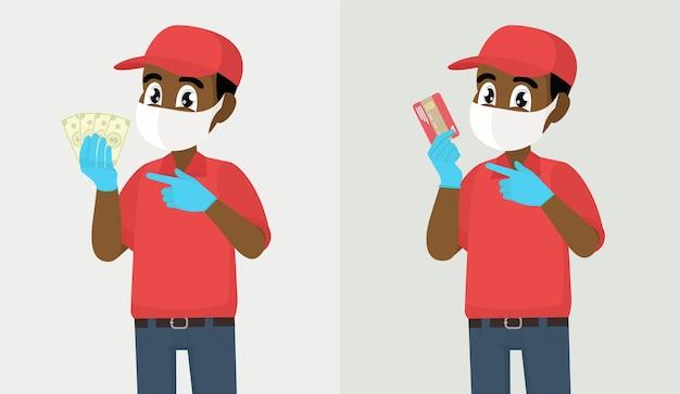 Uomo di consegna africano che tiene fascio di dollari o carta di credito uomo di consegna o ragazzo di corriere in maschera medica di sicurezza