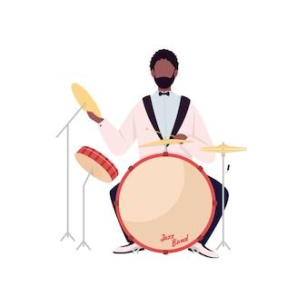 Carattere senza volto di colore piatto batterista africano. musicista di jazz band. performance di musica acustica. l'uomo gioca sull'illustrazione del fumetto isolata set di batteria per il web design grafico e l'animazione