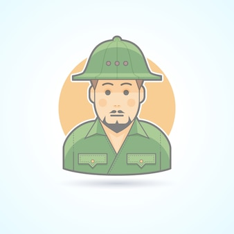 Esploratore africano, icona dell'uomo di safari. illustrazione di avatar e persona. stile delineato colorato.