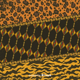 Tessuto africano e sfondo di pelle animale Vettore Premium