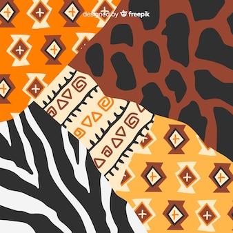 Tessuto africano e sfondo di pelle animale
