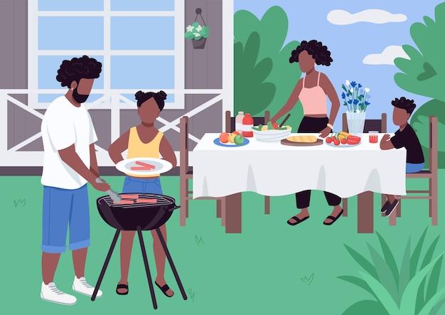 Famiglia africana barbeque illustrazione di colore piatto