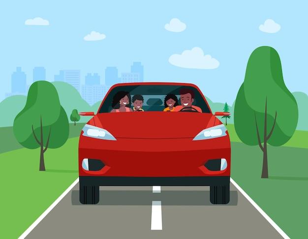 Famiglia africana che guida in un'auto elettrica moderna durante le vacanze del fine settimana. illustrazione vettoriale