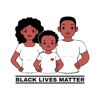 Famiglia africana in piedi con la posa di orgoglio, il logo di protesta per le vite nere è importante. stop al razzismo usa. cartone animato stile su sfondo bianco.