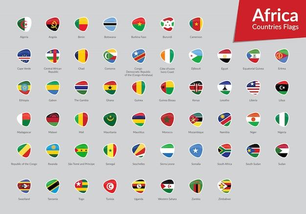 Collezione di icone di bandiere africane Vettore Premium