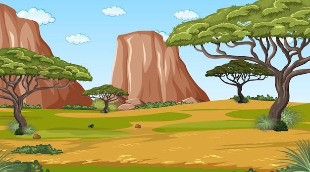 Scena del paesaggio della foresta africana con molti alberi Vettore Premium