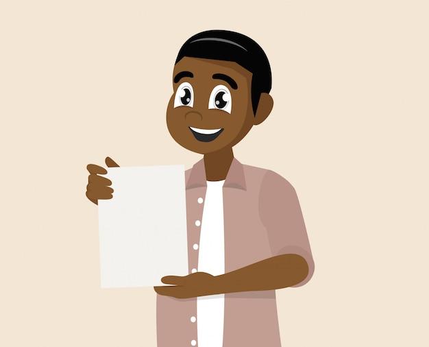 L'uomo africano mostra un documento con il contratto.