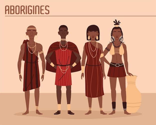 Popolo africano in abiti tribali