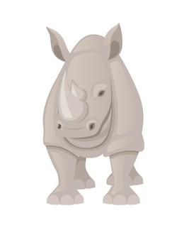 Illustrazione piana di vettore di progettazione animale del fumetto di vista frontale del rinoceronte africano