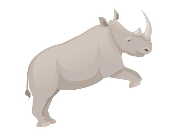 Rinoceronte africano che salta vista laterale cartone animato animale design piatto illustrazione vettoriale