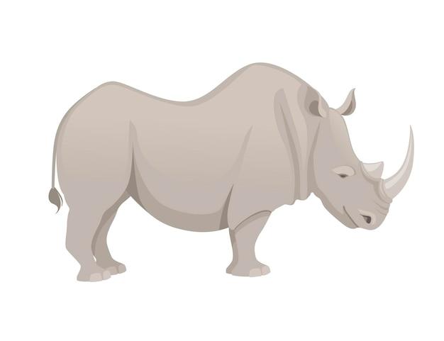 Rinoceronte africano vista laterale cartone animato design animale piatto illustrazione vettoriale