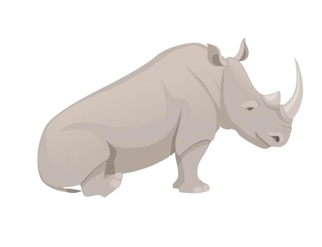 Rinoceronte africano seduto per terra vista laterale cartone animato animale design piatto illustrazione vettoriale