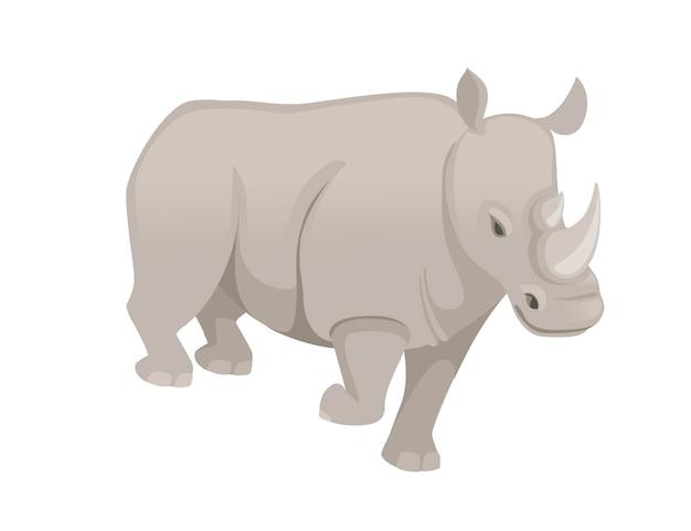 Rinoceronte africano che cammina illustrazione piana di vettore di progettazione animale del fumetto