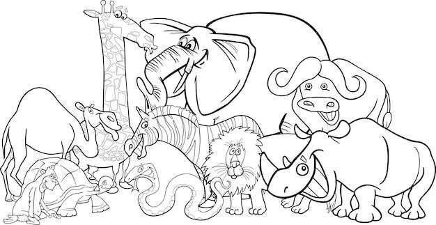 Cartone animato di animali safari africano per la colorazione