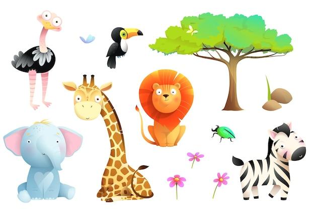 Animali safari africani isolati raccolta clipart insieme della fauna selvatica della giungla per bambini vettore cartoon
