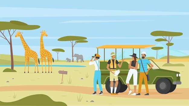 Illustrazione di tour natura safari africano