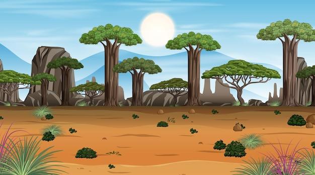 Scena del paesaggio della foresta della savana africana durante il giorno