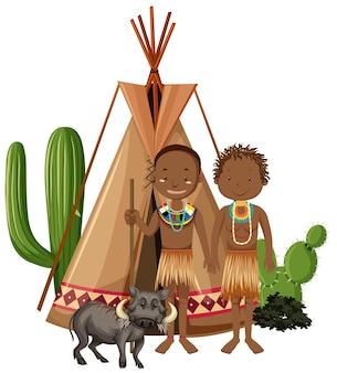 Famiglia di tribù africane isolata