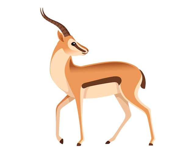 Gazzella dalla coda nera selvaggia africana con la testa lunga delle corna guarda indietro l'illustrazione animale del fumetto