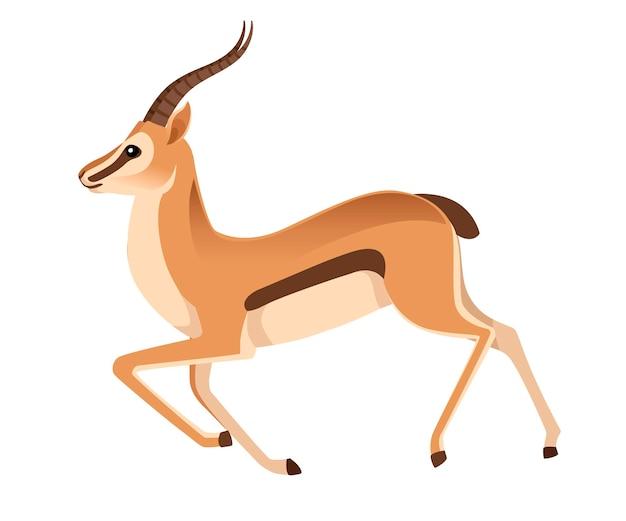 Gazzella africana selvaggia dalla coda nera con lunghe corna che corrono illustrazione animale del fumetto
