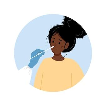 La donna africana fa il test pcr. test per il coronavirus covid-19.