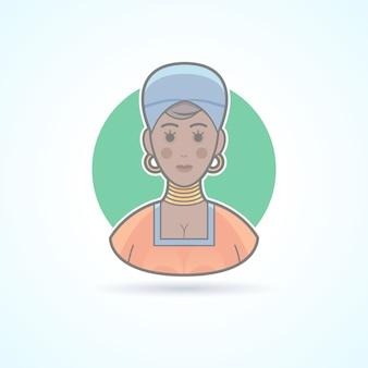 Donna africana in panno tradizionale, icona femminile di pelle nera. illustrazione di avatar e persona. stile delineato colorato.