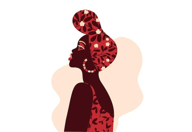 Donna africana con un'illustrazione di headwrap in stile piano