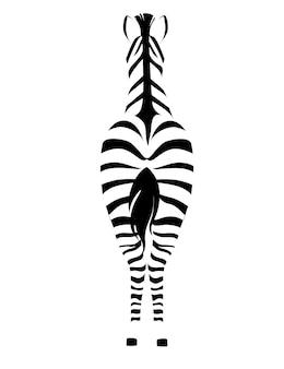 Zebra africana vista posteriore contorno sagoma a strisce design animale piatto illustrazione vettoriale