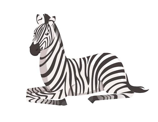 Zebra africana che si trova sull'illustrazione piana di vettore di disegno animale del fumetto di vista laterale del suolo