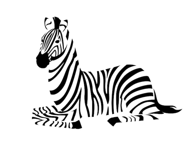 Zebra africana sdraiato sul lato terra vista contorno sagoma a strisce disegno animale illustrazione vettoriale