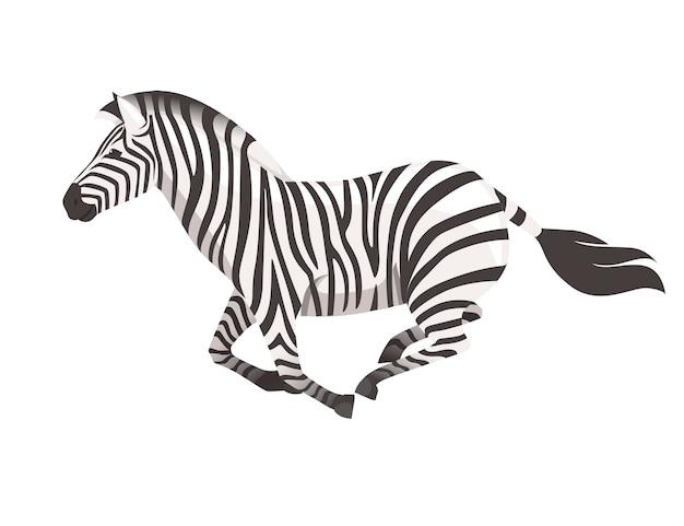 Zebra africana in esecuzione vista laterale cartone animato design animale piatto illustrazione vettoriale