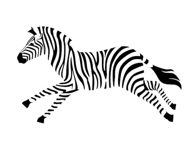 Zebra africana in esecuzione vista laterale contorno silhouette a strisce design animale piatto illustrazione vettoriale