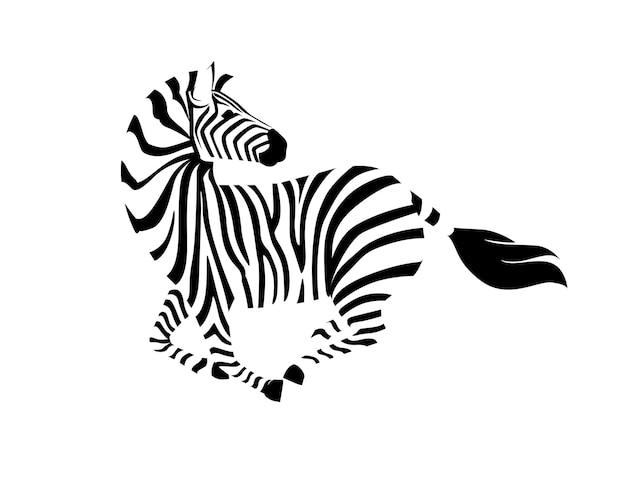 La zebra africana che corre con la testa guarda indietro l'illustrazione di vettore dell'animale a strisce del profilo di vista laterale