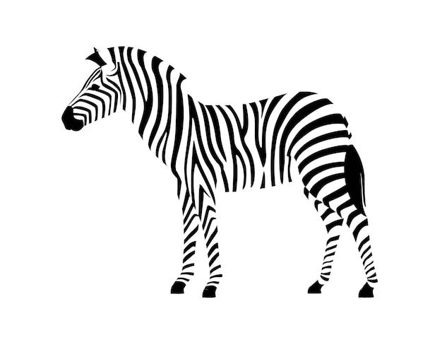 Zebra africana vista laterale contorno silhouette a strisce design animale piatto illustrazione vettoriale h
