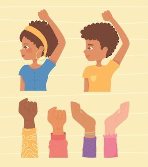 Ragazzo e ragazza afroamericani con le mani in alto insieme