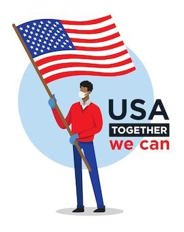 Uomo afroamericano con la bandiera di usa che incoraggia le persone contro il virus della corona