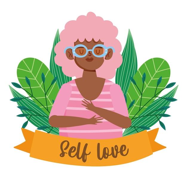 Donna afroamericana con l'illustrazione di amore di sé del personaggio dei cartoni animati degli occhiali