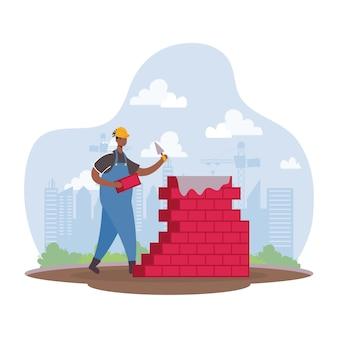 Operaio costruttore afro con disegno di illustrazione vettoriale di mattoni muro carattere