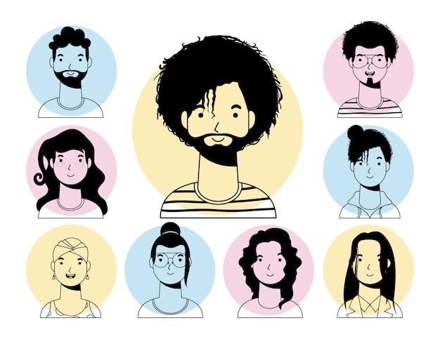 Uomo etnico afro con barba e persone linea vettoriale interrazziale stile design