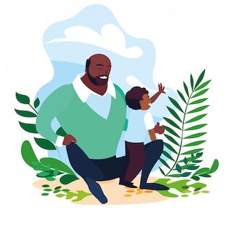 Padre afro con figlio in scena della natura