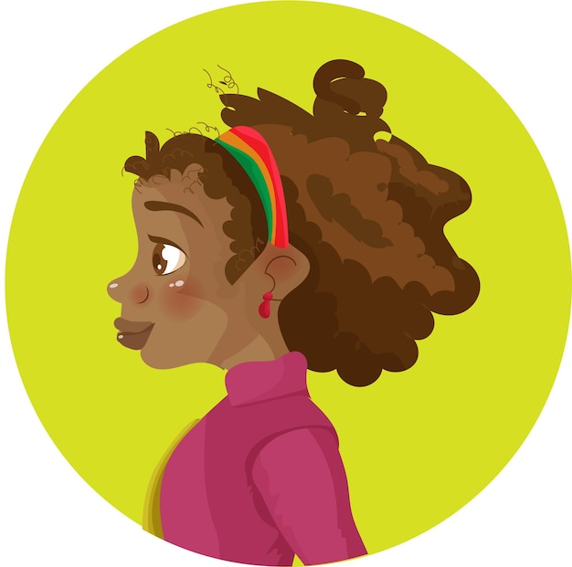 Ragazza afro cartoon ragazza afroamericana