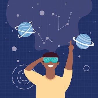 Uomo afro utilizzando la maschera di realtà virtuale nella progettazione dell'illustrazione della scena dell'universo