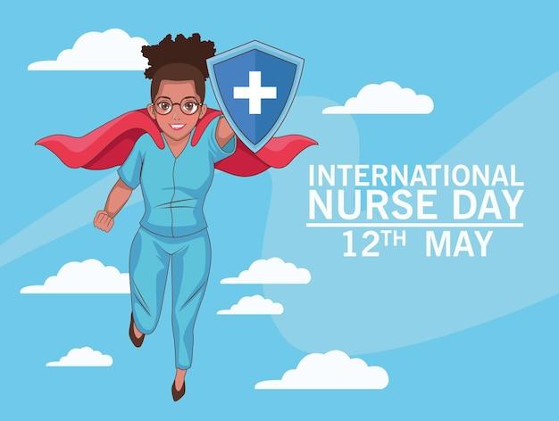 Fondo di volo dell'eroe dell'infermiera afro