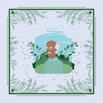 Scheda di vecchio uomo afro con cornice a base di erbe