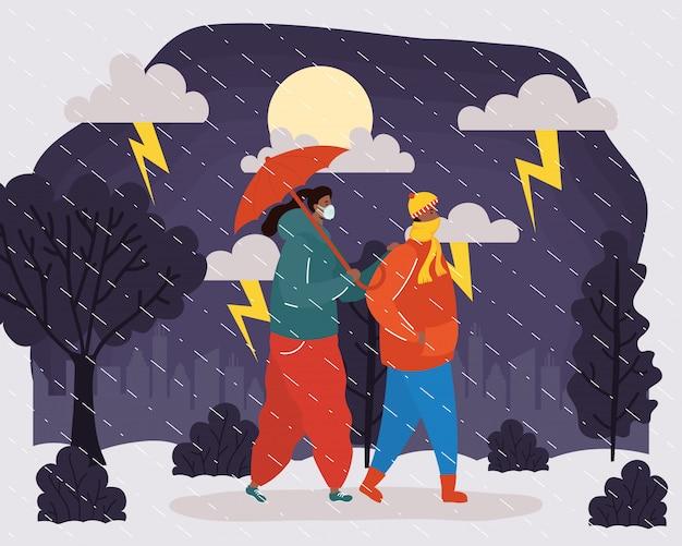 Afro giovani coppie che indossano maschere mediche nella scena del tempo piovoso