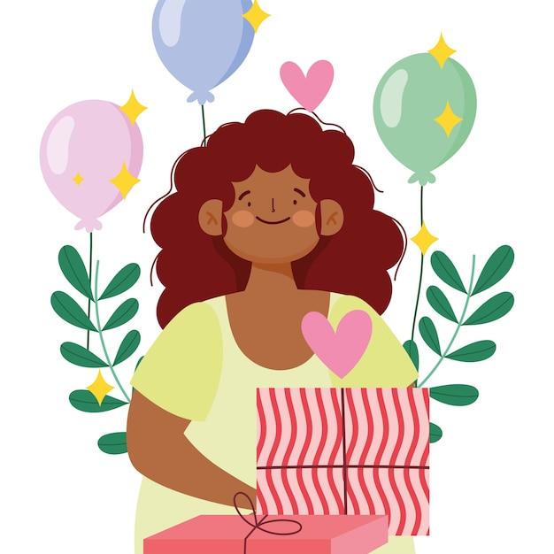 Confezione regalo ragazza afroamericana e decorazione palloncini illustrazione vettoriale
