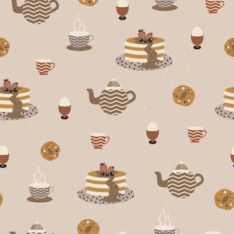 Modello senza cuciture di tè pomeridiano illustrazione vettoriale di panetteria e pasticceria con forme astratte Vettore Premium